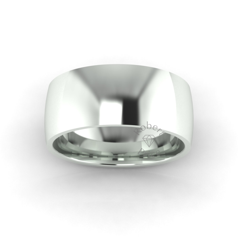 Classic Standard Wedding Ring in 9ct White Gold (8mm)