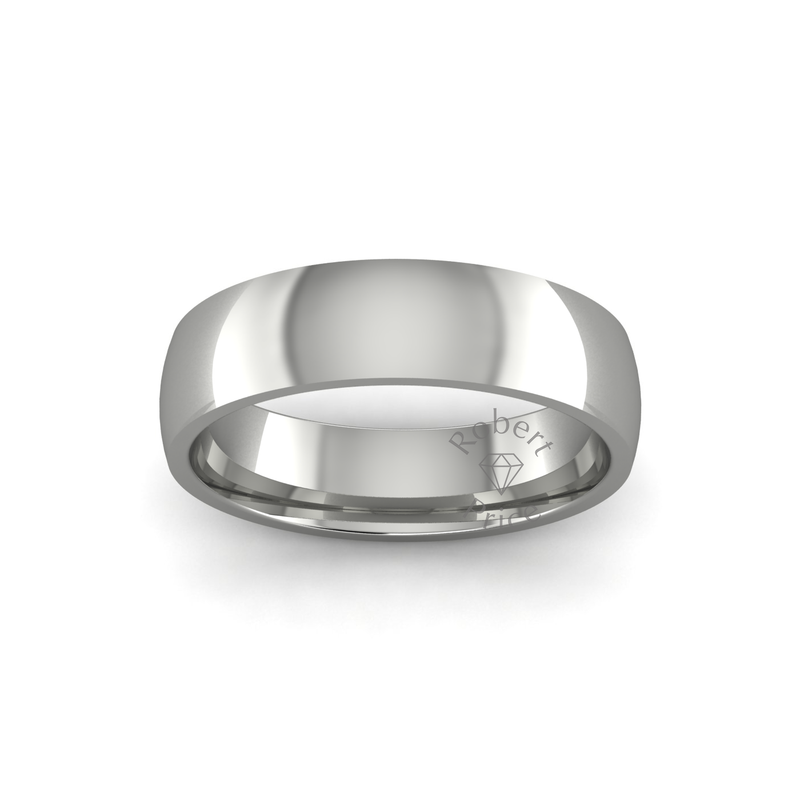 Classic Heavy Wedding Ring in 18ct White Gold (5mm)