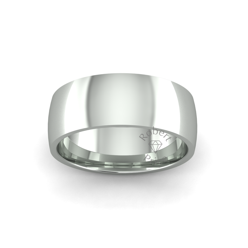 Classic Heavy Wedding Ring in 9ct White Gold (7mm)
