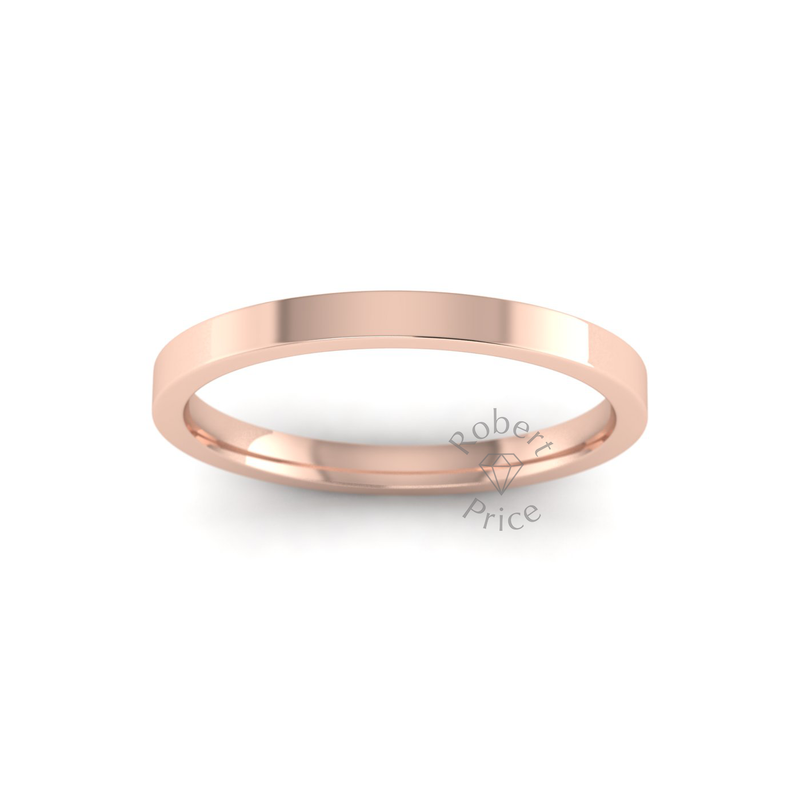Flat Court Heavy Wedding Ring in 18ct Rose Gold (2mm)