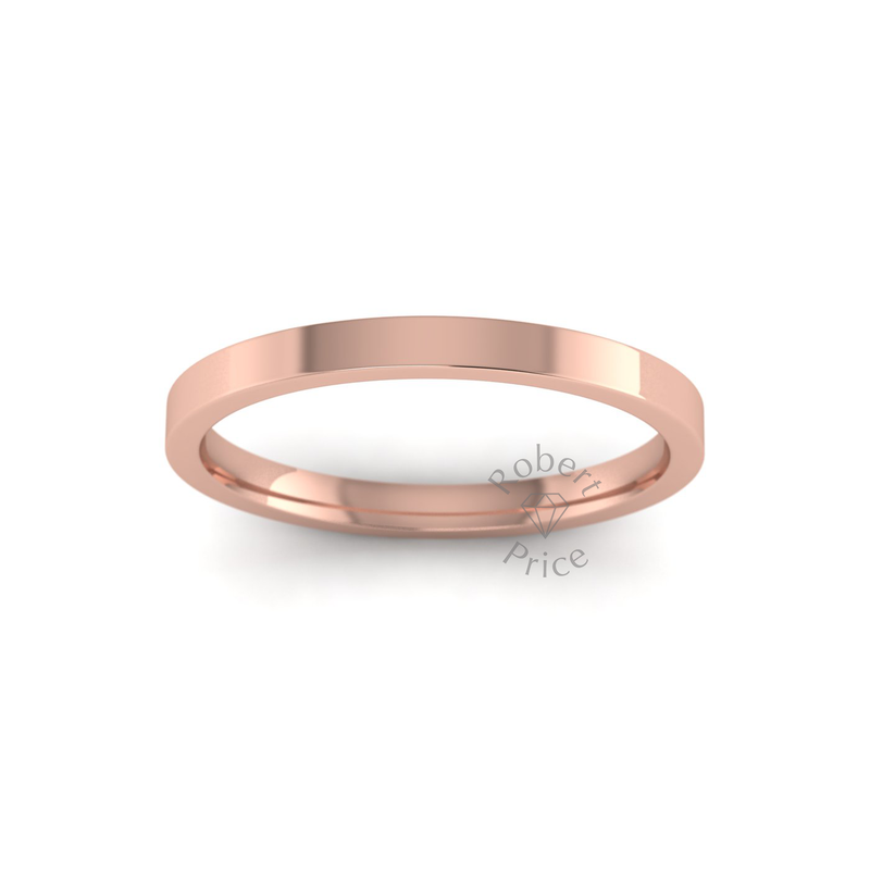 Flat Court Heavy Wedding Ring in 9ct Rose Gold (2mm)