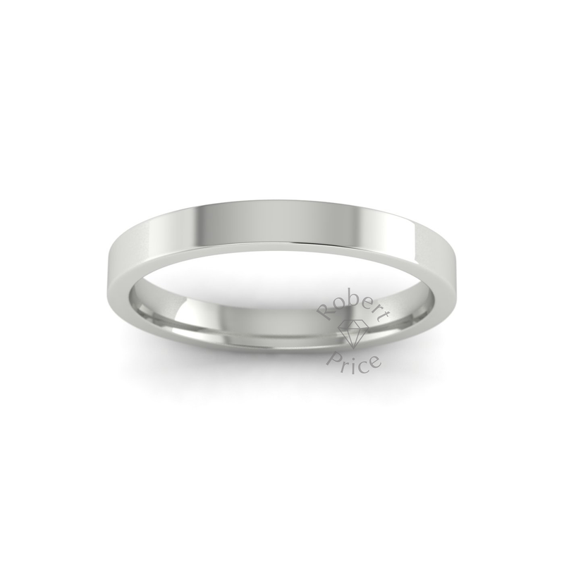 Flat Court Heavy Wedding Ring in 18ct White Gold (2.5mm)