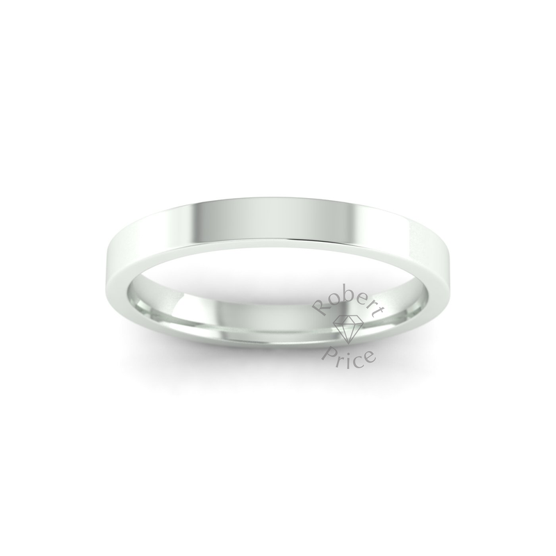 Flat Court Heavy Wedding Ring in 9ct White Gold (2.5mm)