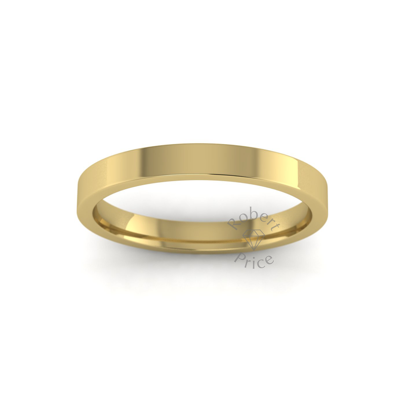 Flat Court Heavy Wedding Ring in 9ct Yellow Gold (2.5mm)