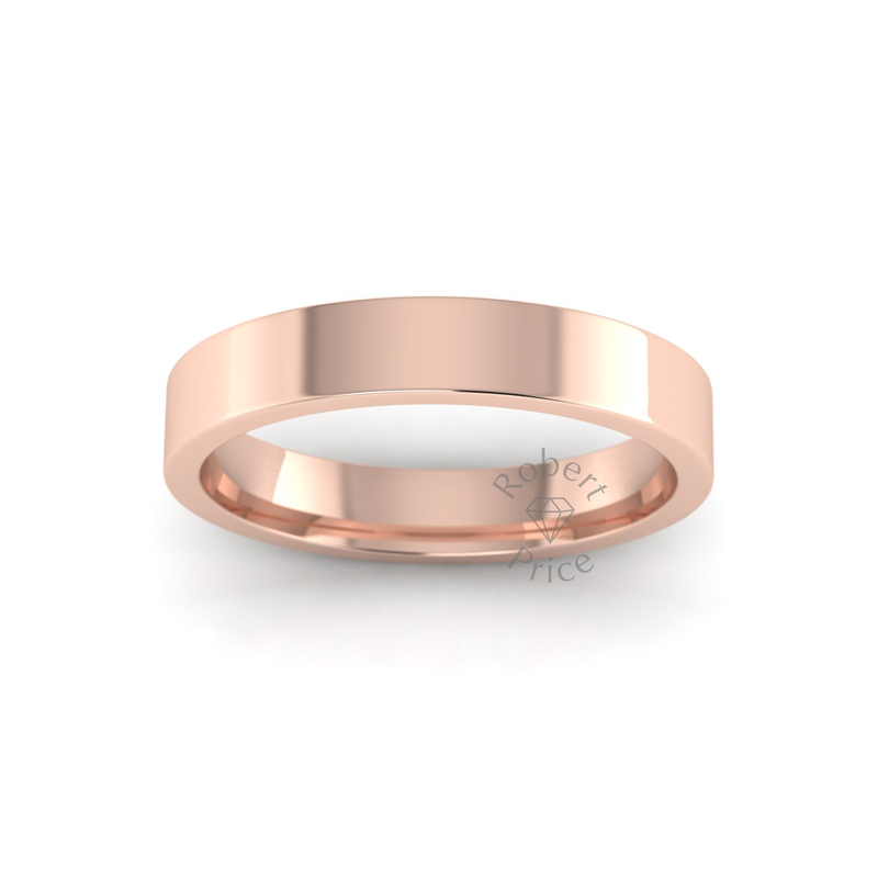 Flat Court Heavy Wedding Ring in 18ct Rose Gold (3.5mm)