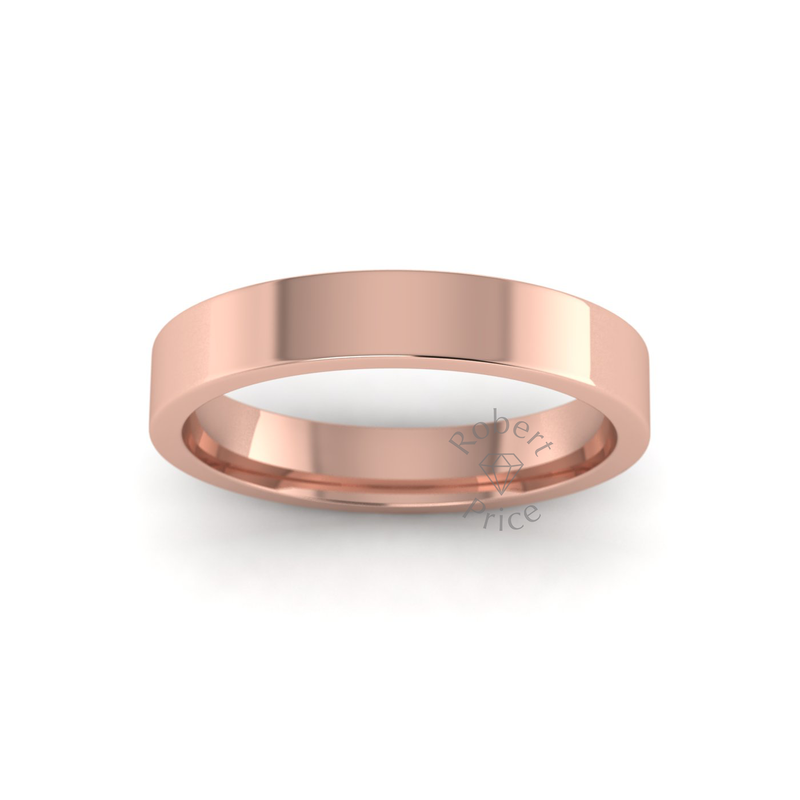 Flat Court Heavy Wedding Ring in 9ct Rose Gold (3.5mm)