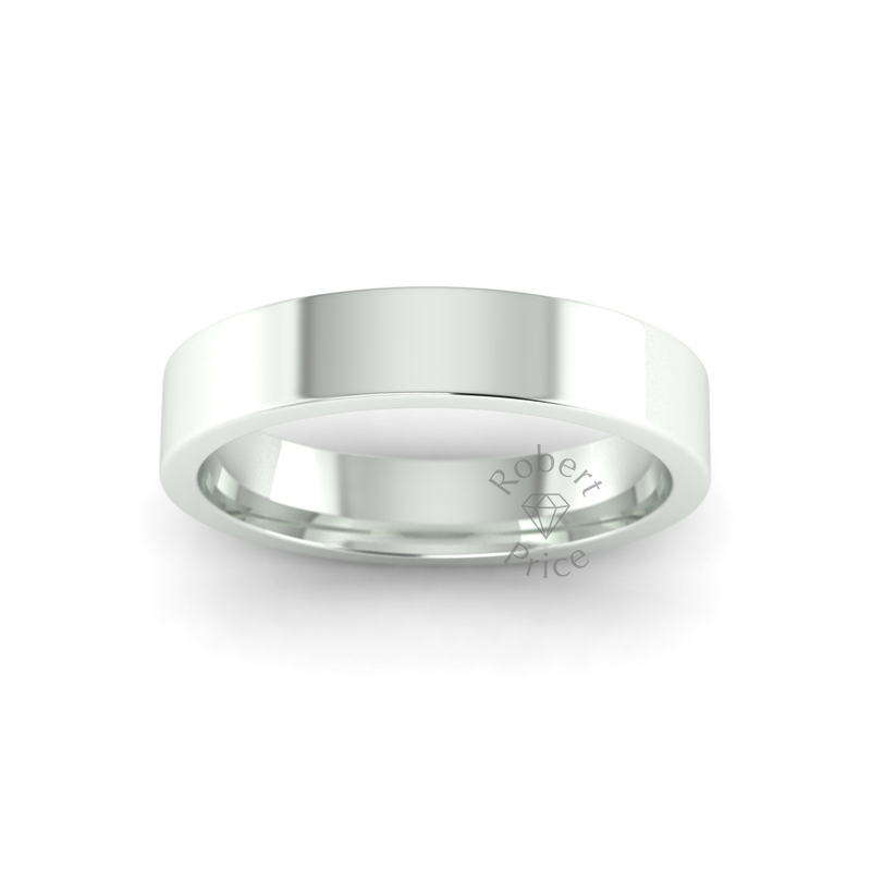 Flat Court Heavy Wedding Ring in 9ct White Gold (4mm)