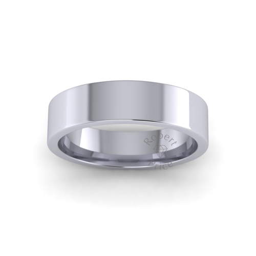 Classic Flat Court Wedding Ring in Heavy Weight (5mm)