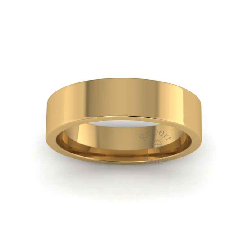 Flat Court Heavy Wedding Ring in 18ct Yellow Gold (5mm)