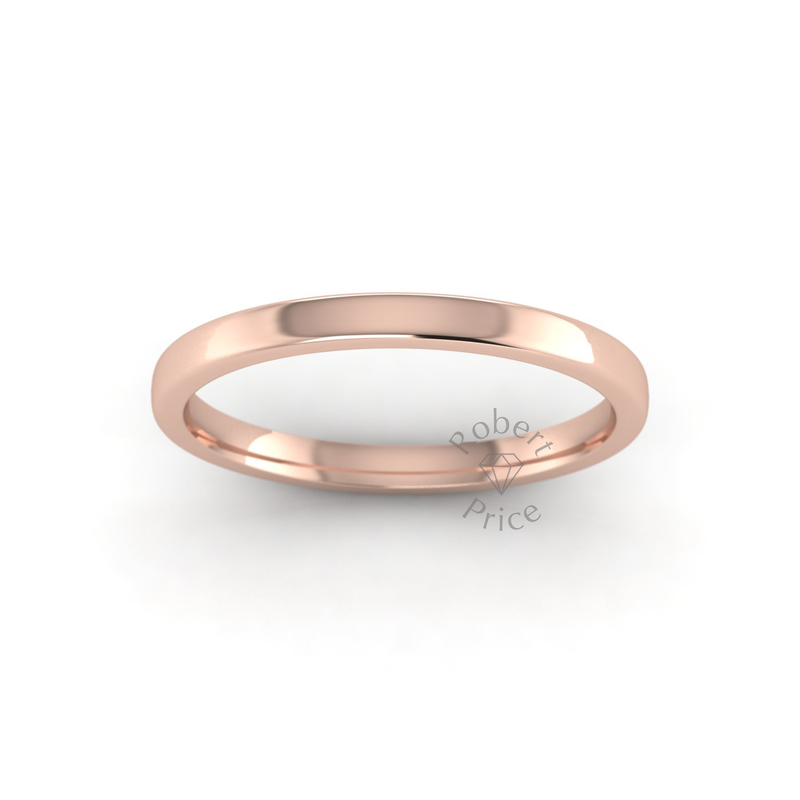 Soft Court Heavy Wedding Ring in 18ct Rose Gold (2mm)