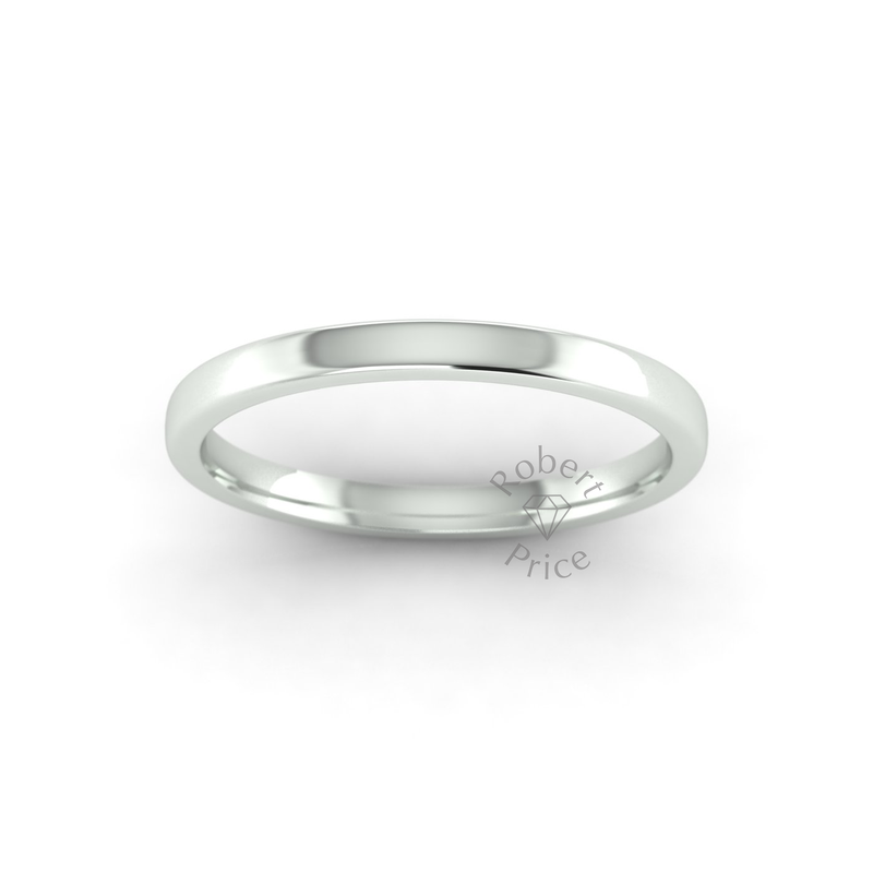 Soft Court Heavy Wedding Ring in 9ct White Gold (2mm)