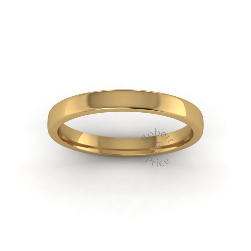 Soft Court Heavy Wedding Ring in 18ct Yellow Gold (2.5mm)
