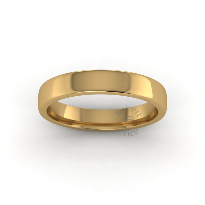 Soft Court Heavy Wedding Ring in 18ct Yellow Gold (3.5mm)