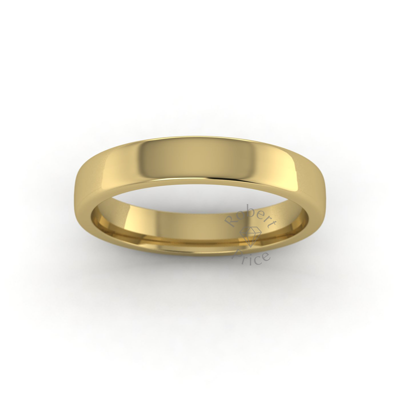 Soft Court Heavy Wedding Ring in 9ct Yellow Gold (3.5mm)