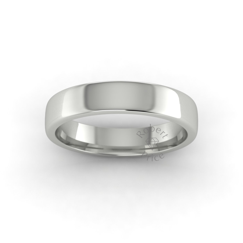 Soft Court Heavy Wedding Ring in 18ct White Gold (4mm)