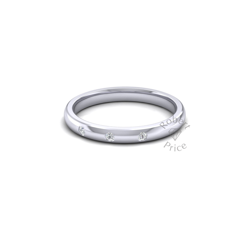 Spaced Diamond Ring in 18ct White Gold (2.5mm)
