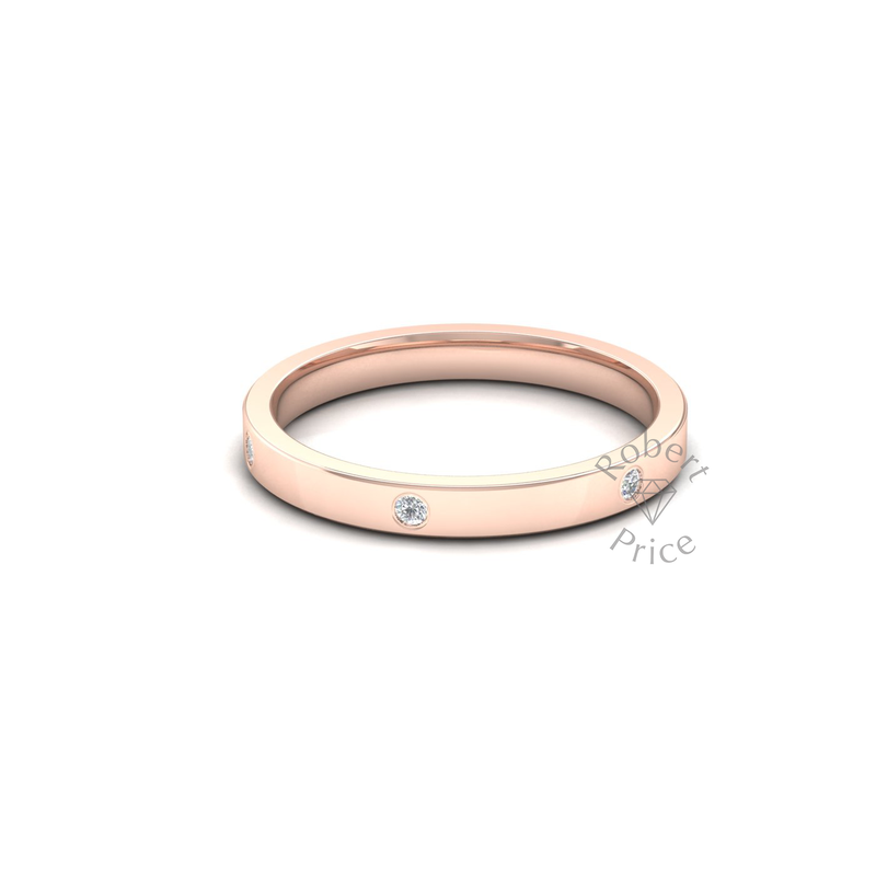 Spaced Flat Court Diamond Ring in 18ct Rose Gold (2.5mm)
