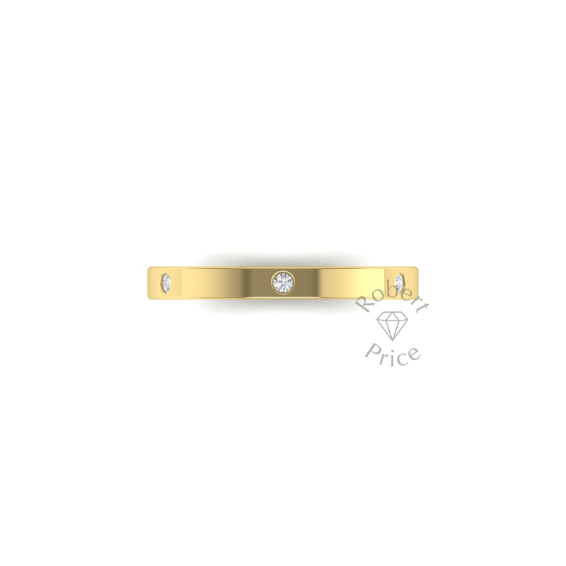 Spaced Flat Court Diamond Ring in 9ct Yellow Gold (2.5mm)