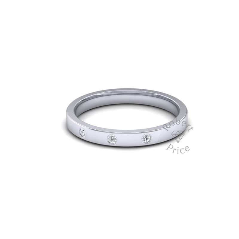 Spaced Flat Court Diamond Ring in 9ct White Gold (2.5mm)