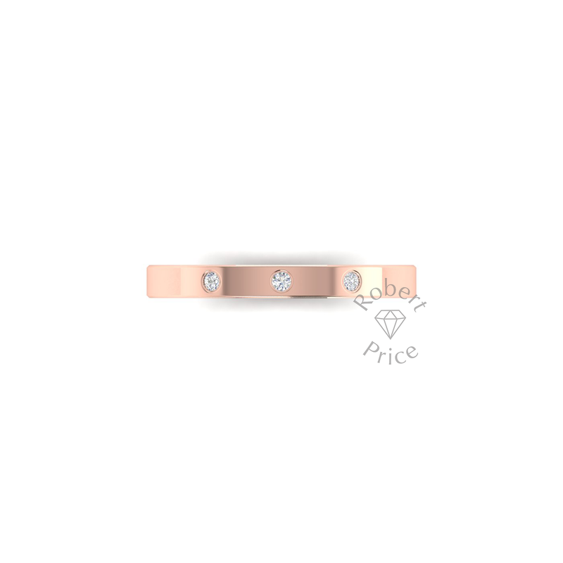Spaced Flat Court Diamond Ring in 9ct Rose Gold (2.5mm)