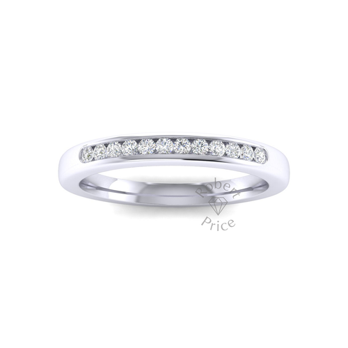 Channel Set Soft Court Diamond Ring in 18ct White Gold (0.18 ct.)
