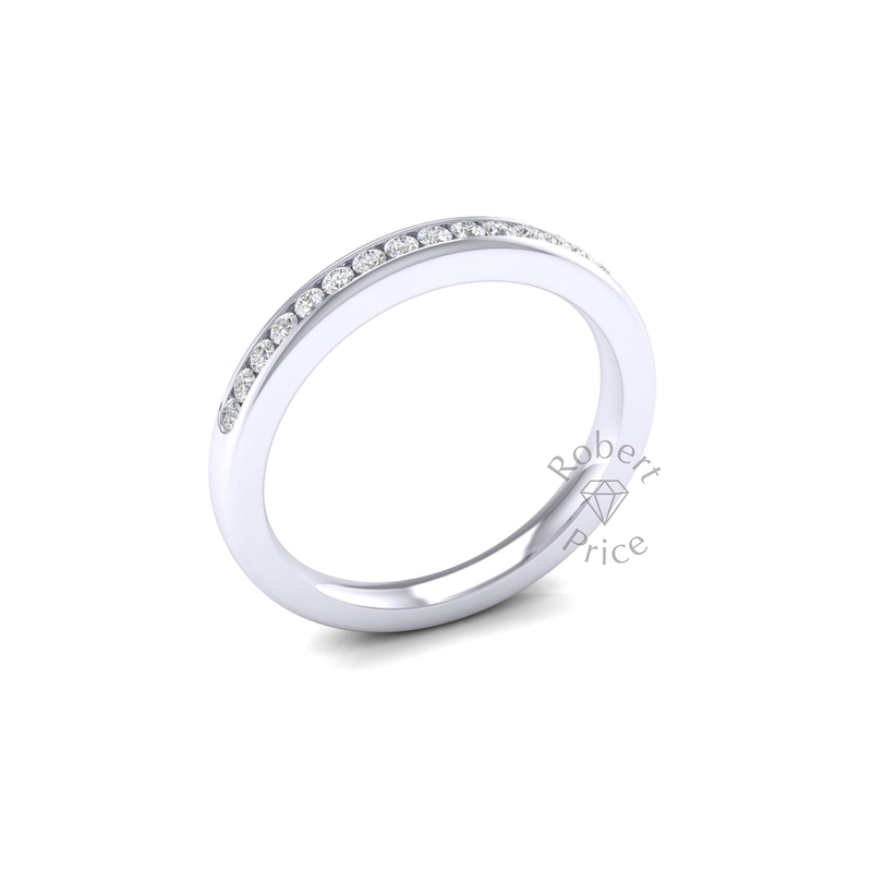 Channel Set Soft Court Diamond Ring in 18ct White Gold (0.26 ct.)