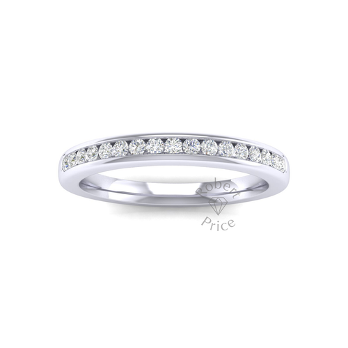 Channel Set Soft Court Diamond Ring in Platinum (0.26 ct.)