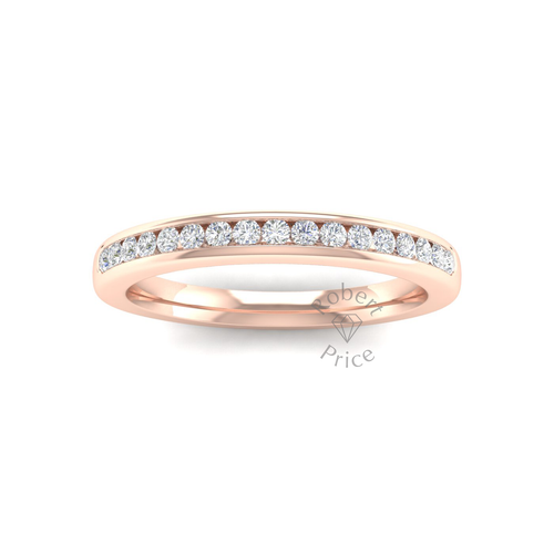Channel Set Soft Court Diamond Ring in 18ct Rose Gold (0.26 ct.)