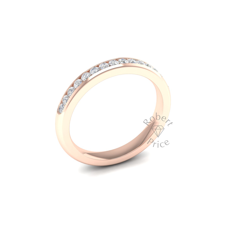 Channel Set Soft Court Diamond Ring in 18ct Rose Gold (0.3 ct.)