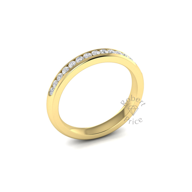 Channel Set Soft Court Diamond Ring in 18ct Yellow Gold (0.3 ct.)