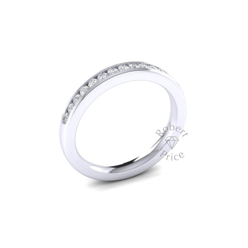 Channel Set Soft Court Diamond Ring in 18ct White Gold (0.3 ct.)