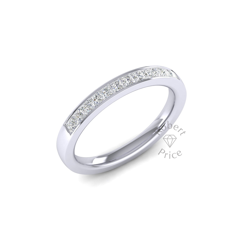 Princess Cut Channel Set Court Diamond Ring (0.42 ct.)