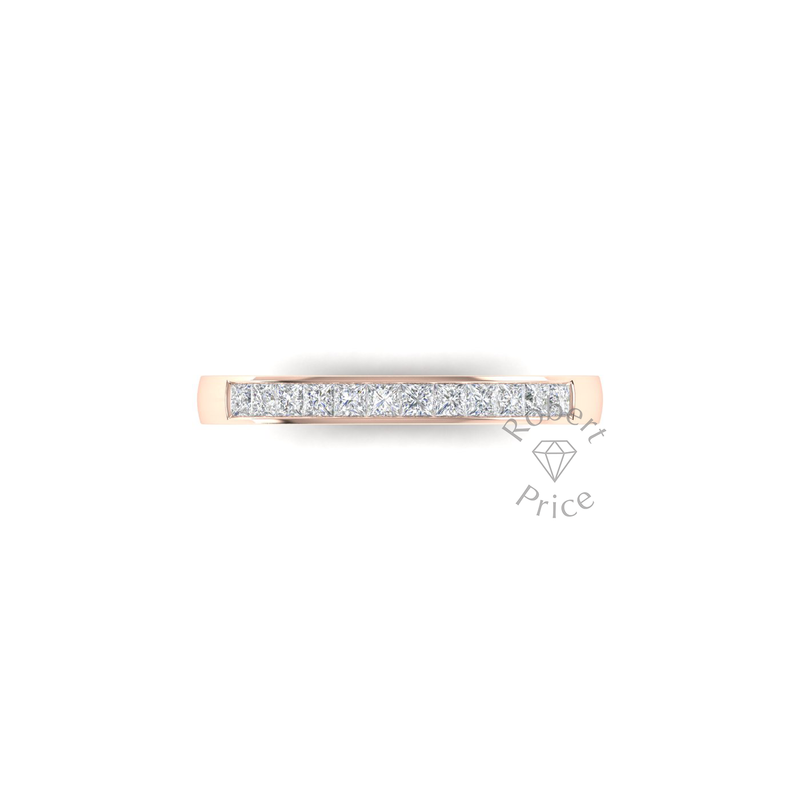 Princess Cut Channel Set Diamond Ring in 18ct Rose Gold (0.42 ct.)