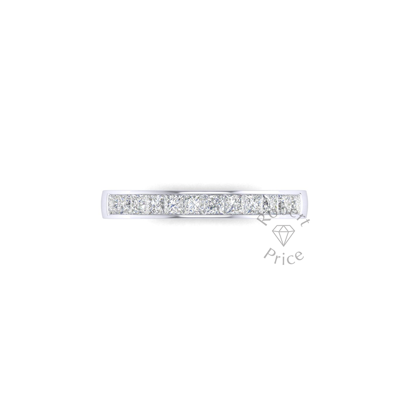 Princess Cut Channel Set Diamond Ring in Platinum (0.72 ct.)