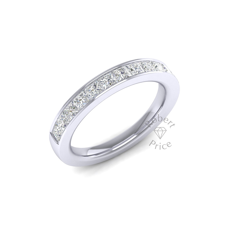 Princess Cut Channel Set Court Diamond Ring (0.96 ct.)