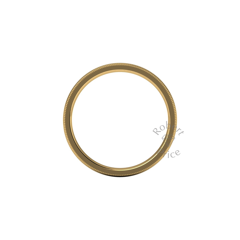 Millgrain Wedding Ring in 18ct Yellow Gold (2.5mm)