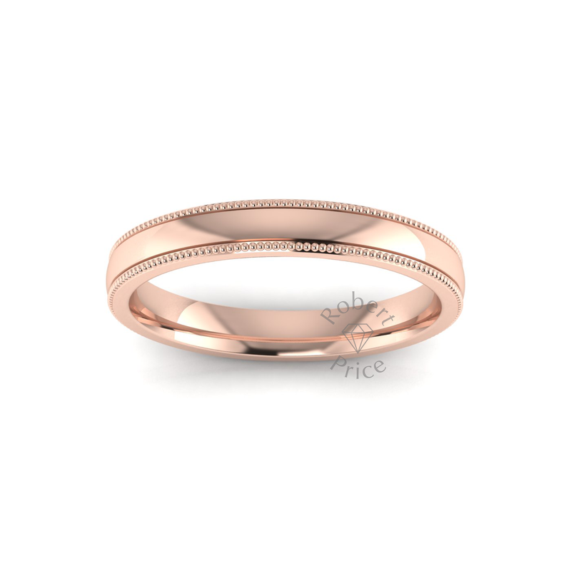 Millgrain Wedding Ring in 18ct Rose Gold (3mm)