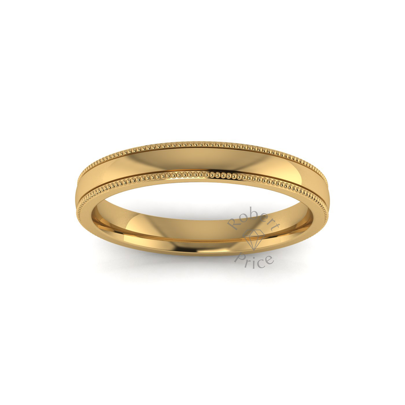 Millgrain Wedding Ring in 18ct Yellow Gold (3mm)