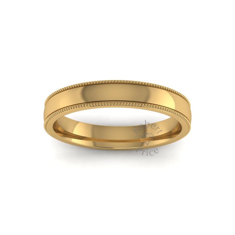 Millgrain Wedding Ring in 18ct Yellow Gold (3.5mm)