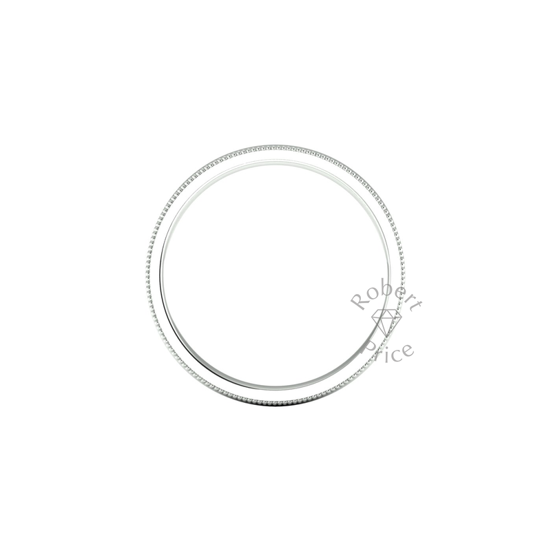 Millgrain Wedding Ring in 9ct White Gold (3.5mm)
