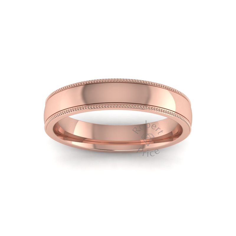 Millgrain Wedding Ring in 9ct Rose Gold (4mm)
