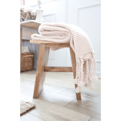 Fig Linens - Pom Pom at Home Trestles Blush Throw