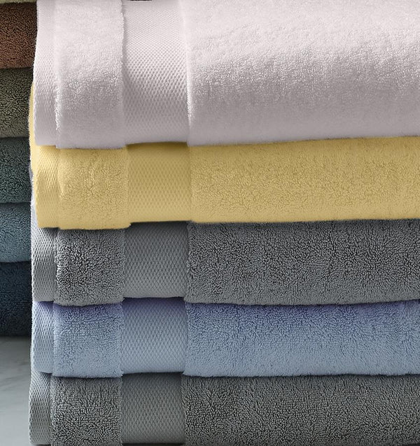Stack of Sferra Bello Towels - White-Corn-Iron-Blue-Stone
