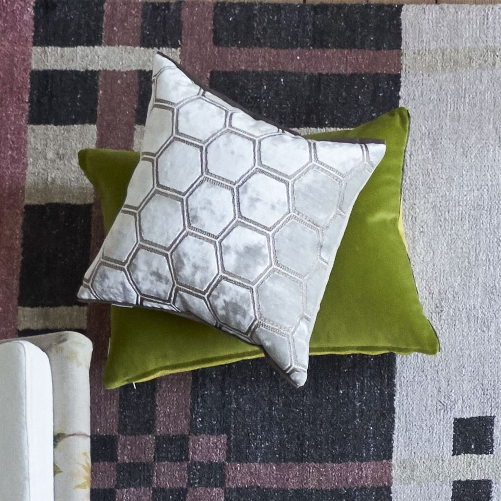 Designers Guild Manipur Oyster Decorative Pillow with Green Citrus Velvet