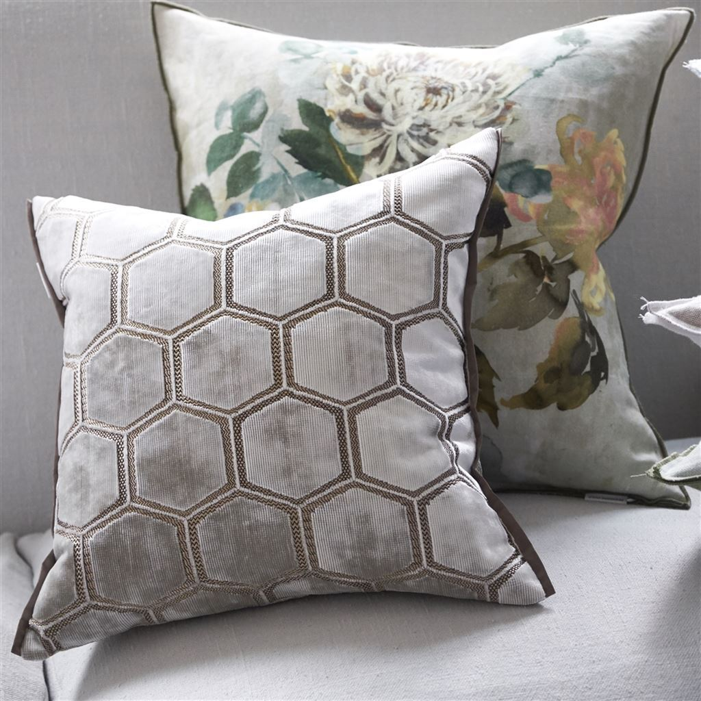 Designers Guild Manipur Oyster Decorative Pillow Shown with Floral