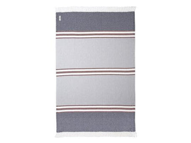 Fig Linens - Allagash Navy, Claret & Dove Gray Cotton Throw by Brahms Mount