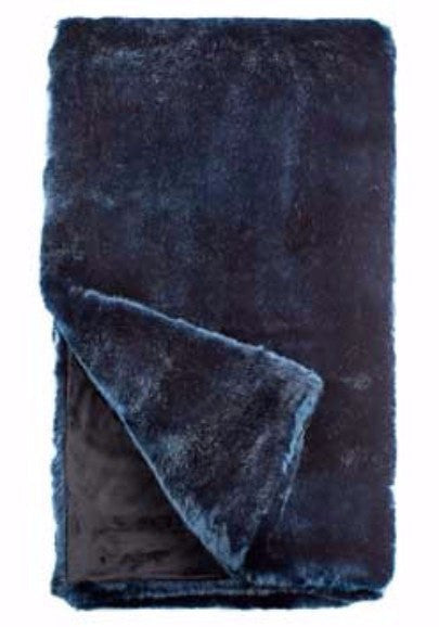 steel blue mink faux fur - couture - cruelty free throw