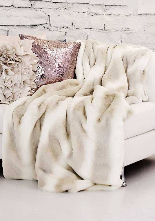 faux fur iced mink-couture blanket on chaise