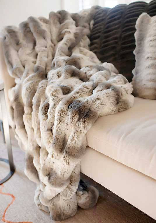 truffle chinchilla throw on chaise