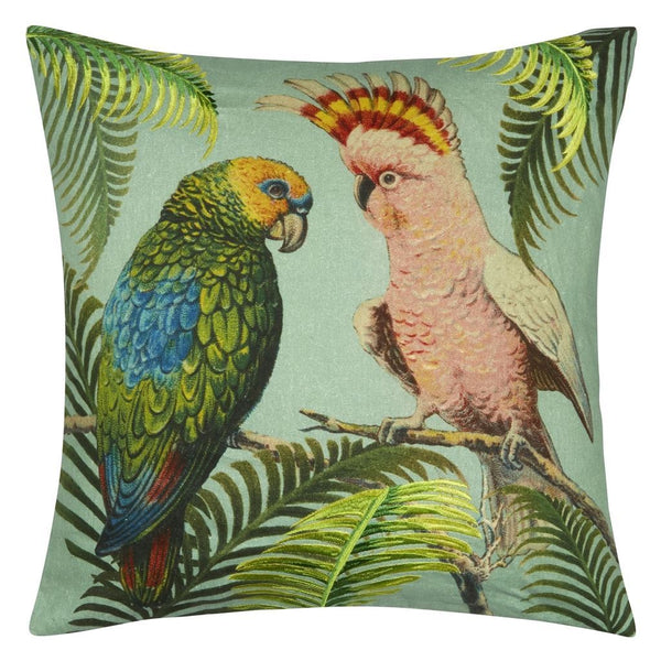 Parrot and Palm Azure Decorative Pillow